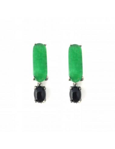 Pendientes Plata Oxidada Barra Con Jade Verde Y Onix Shanghai