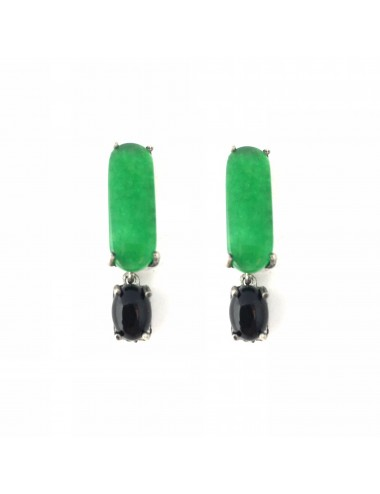 Shanghai Bar Earrings in Dark Sterling Silver with Green Jade and Onix