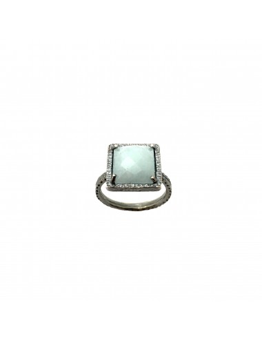 Petit Caramelo Square Ring in Dark Sterling Silver with Aquamarine jade