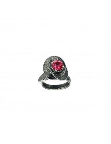 Architecture Small Ring in Dark Sterling Silver with Ruby