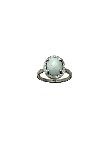 Petit Caramelo Oval Ring in Dark Sterling Silver with Aquamarine jade