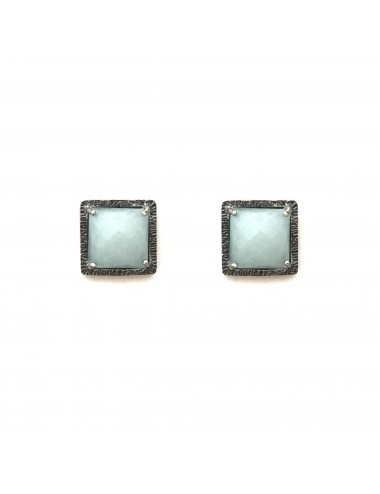 Petit Caramelo Square Earrings in Dark Sterling Silver with Aquamarine jade
