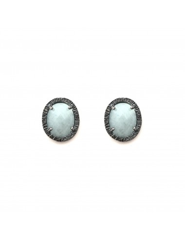 Petit Caramelo Oval Earrings in Dark Sterling Silver with Aquamarine jade