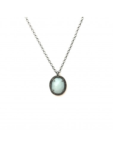 Petit Caramelo Oval Pendant in Dark Sterling Silver with Aquamarine jade