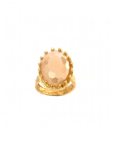 Ceramic Oval Crown Ring in Sterling Silver Vermeil with Beige Crystal Ceramic and Circonita