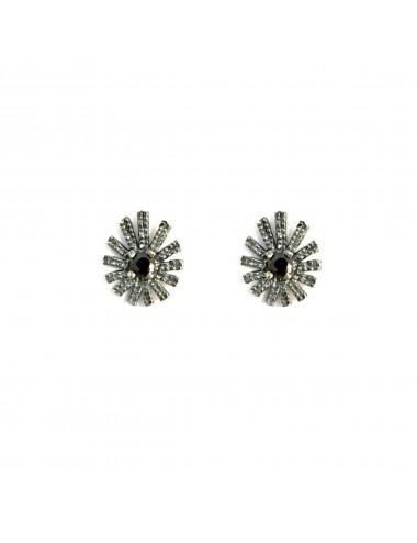 Pyramid Sun Drop Earrings in Dark Sterling Silver with Black Circonita