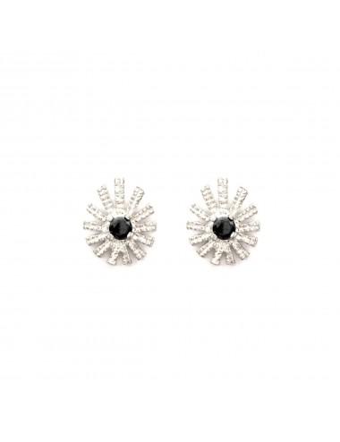 Pyramid Sun Drop Earrings in Sterlinng Silver with Black Circonita
