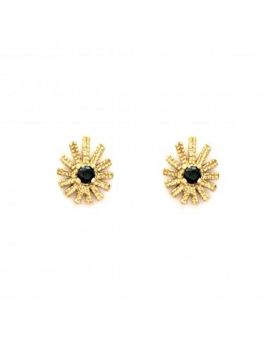 Pyramid Sun Drop Earrings in Sterlinng Silver Vermeil with Black Circonita