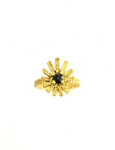 Pyramid Sun Drop Ring in Sterling Silver Vermeil with Black Circonita