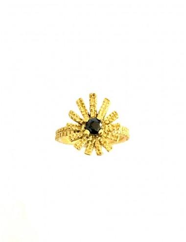 Pyramid Sun Drop Ring in Sterling Silver Vermeil with Black Circonita