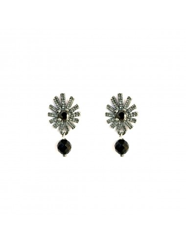 Pyramid Sun You & Me Earrings in Dark Sterling Silver with Black Circonita and Onix Ball