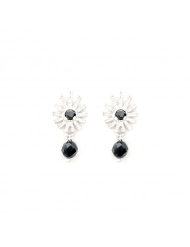 Pyramid Sun You & Me Earrings in Sterling Silver with Black Circonita and Onix Ball