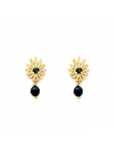 Pyramid Sun You & Me Earrings in Sterling Silver Vermeil with Black Circonita and Onix Ball