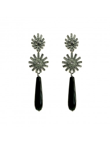 Pyramid Sun Double Drop Earrings in Dark Sterling Silver with Black Circonita and Briolet Onix