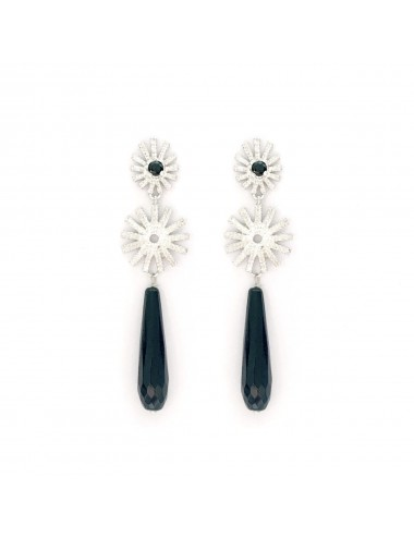 Pyramid Sun Double Drop Earrings in Sterling Silver with Black Circonita and Briolet Onix