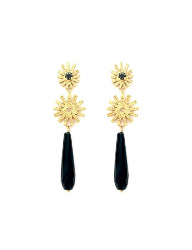Pyramid Sun Double Drop Earrings in Sterling Silver Vermeil with Black Circonita and Briolet Onix
