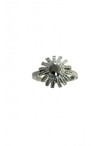 Pyramid Sun Semi-Spherical Ring in Dark Sterling Silver with small Black Circonita