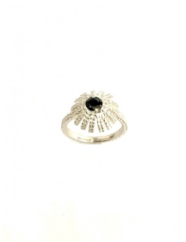 Pyramid Sun Semi-Spherical Ring in Sterling Silver with small Black Circonita