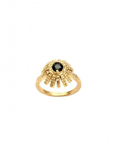 Pyramid Sun Semi-Spherical Ring in Sterling Silver Vermeil with small Black Circonita