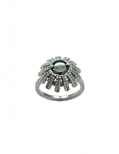 Pyramid Sun Semi-Spherical Ring in Dark Sterling Silver with medium Black Circonita