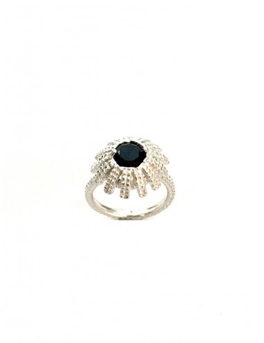 Pyramid Sun Semi-Spherical Ring in Sterling Silver with medium Black Circonita