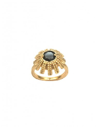 Pyramid Sun Semi-Spherical Ring in Sterling Silver Vermeil with medium Black Circonita