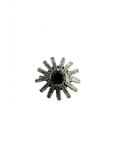 Pyramid Sun Semi-Spherical Ring in Dark Sterling Silver with large Black Circonita