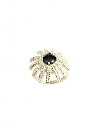 Pyramid Sun Semi-Spherical Ring in Sterling Silver with large Black Circonita