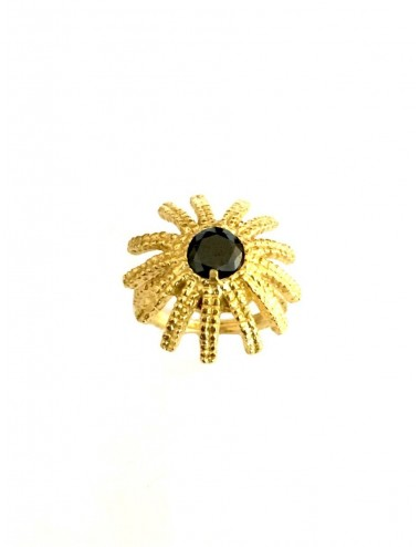 Pyramid Sun Semi-Spherical Ring in Sterling Silver Vermeil with large Black Circonita