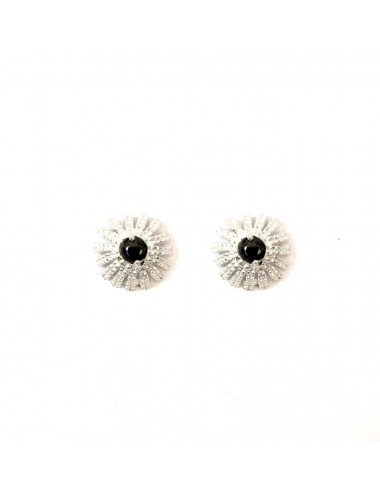 Pyramid Sun Button Earrings in Sterling Silver with Black small Circonita Ball