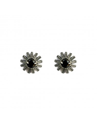 Pyramid Sun Button Earrings in Dark Sterling Silver with Black medium Circonita Ball