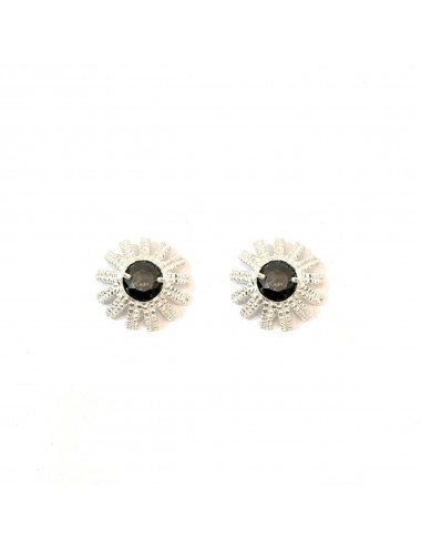 Pyramid Sun Button Earrings in Sterling Silver with Black medium Circonita Ball