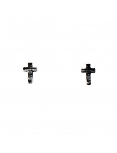 Punki Cross Button Earrings in Dark Sterling Silver