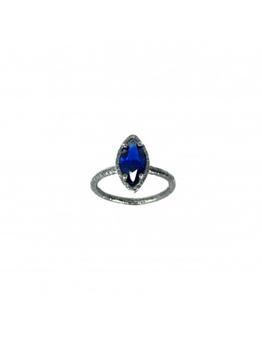 Architecture Ring in Dark Sterling Silver with Blue Spinel Marquise