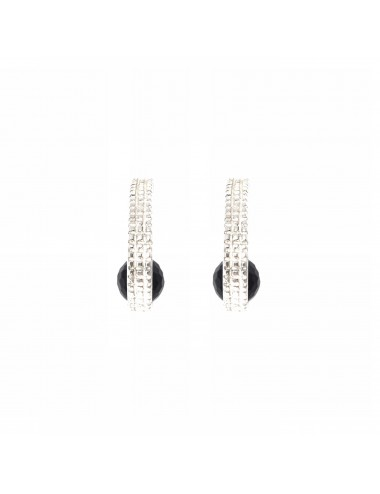 Punki Criolla Earrings in Sterling Silver with Onix