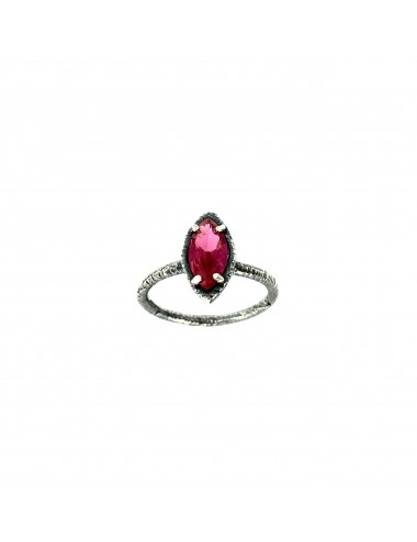 Architecture Ring in Dark Sterling Silver with Ruby Marquise