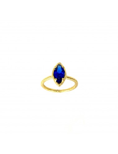 Architecture Ring in Sterling Silver Vermeil with Blue Spinel Marquise