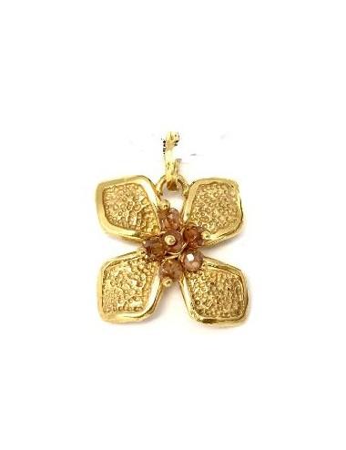 Colgante Oro Flor Mediana Con Bolitas Circonita Beige Petalos