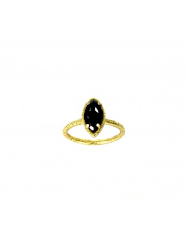Architecture Ring in Sterling Silver Vermeil with Black Circonita Marquise