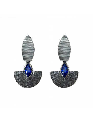 Architecture Oval Earrings in Dark Sterling Silver with Blue Spinel Marquise