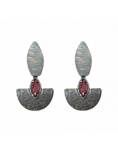 Architecture Oval Earrings in Dark Sterling Silver with Ruby Marquise